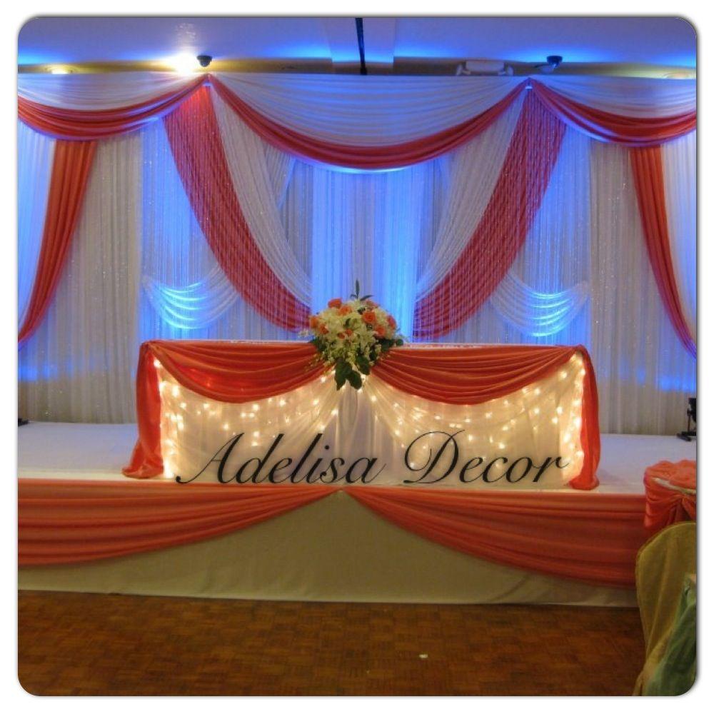 Stunning Coral & White Wedding Draped Backdrop