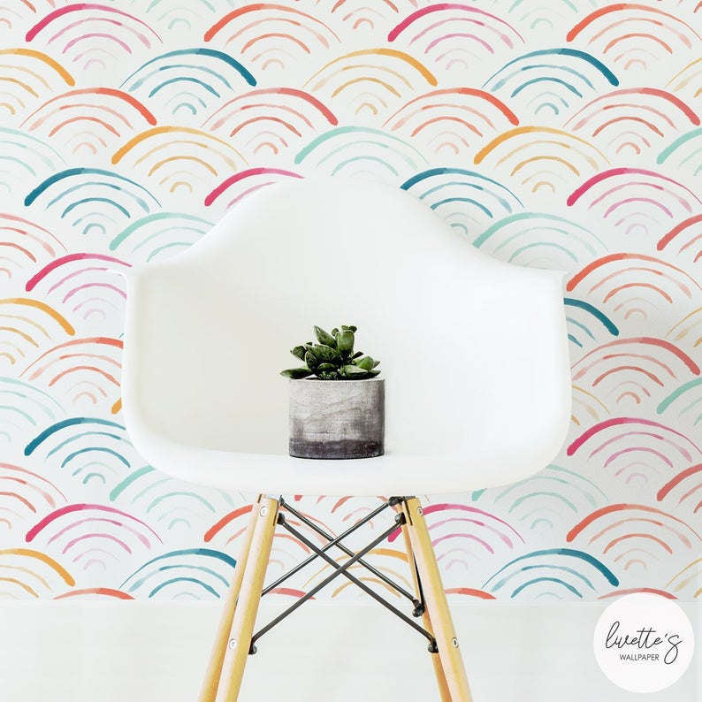 Watercolor Rainbow Removable Wallpaper Neutral Baby Peel And Stick And Traditional Wall Art Art Ba Removable Wallpaper Rainbow Wallpaper Kids Interior Room