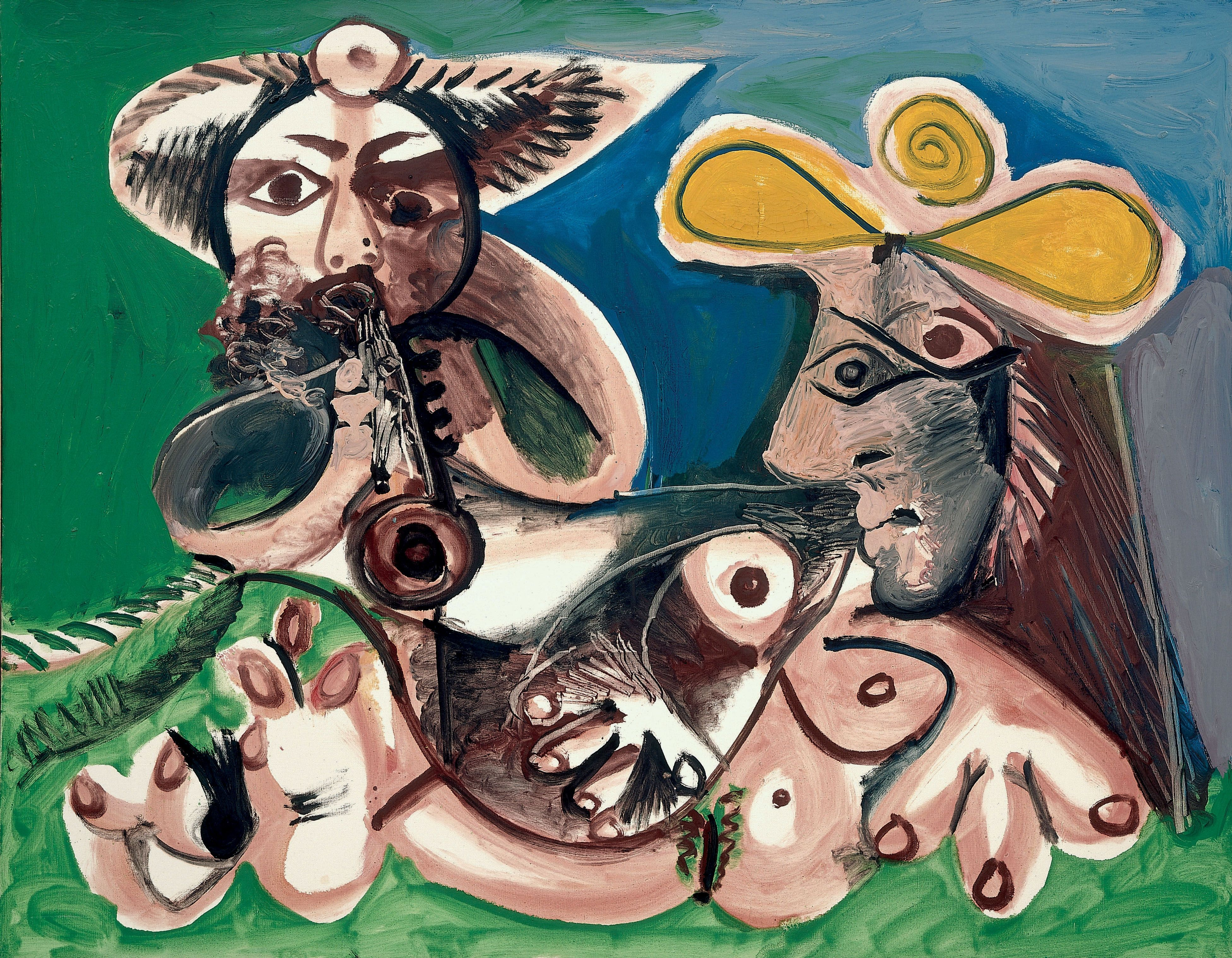 Pablo Picasso - Flute Player and Female Nude, 1970