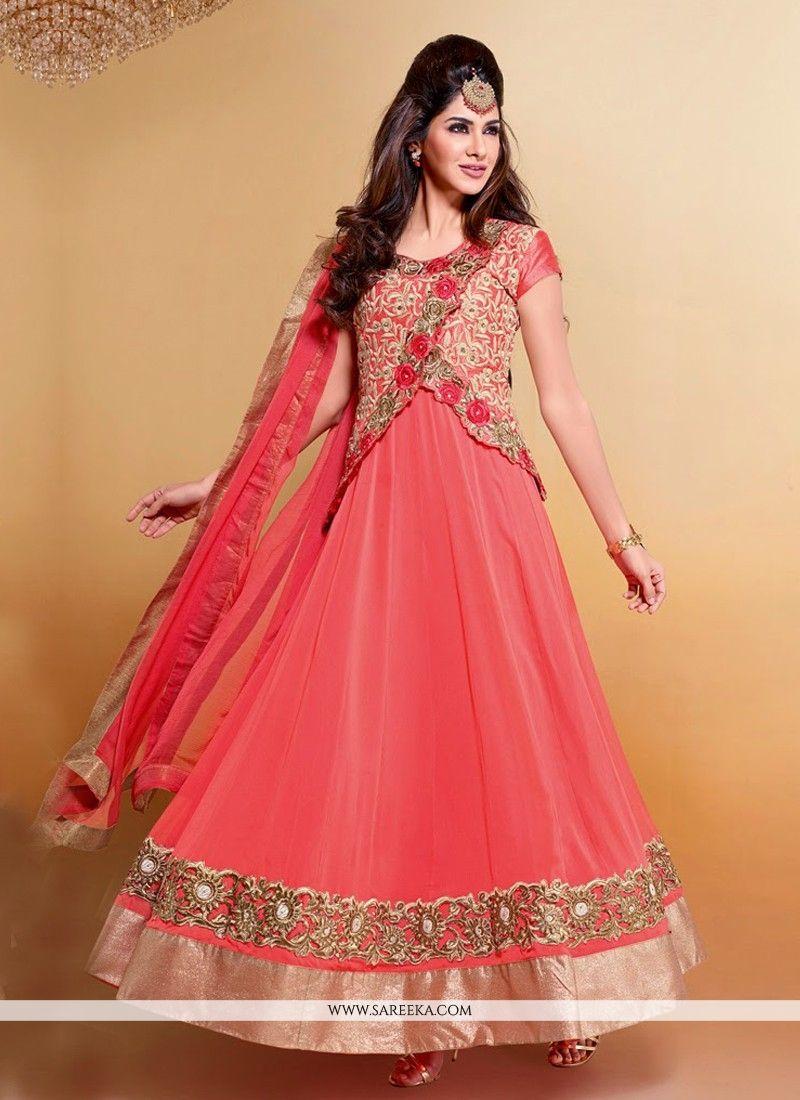 05ba14fe4e2 Pink Embroidered Work Georgette Long Anarkali Suit  81.80