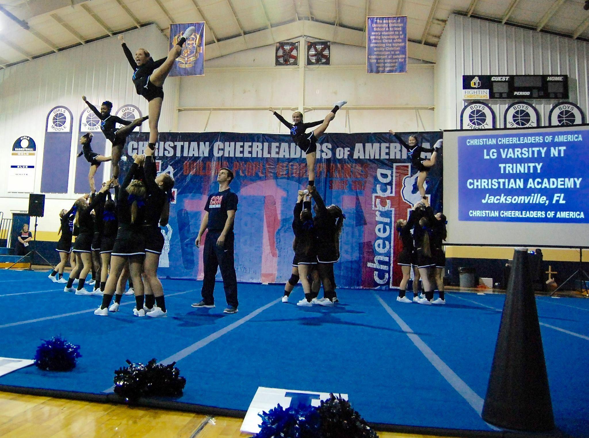Pin By Hannah Roberts On Cheer Trinity Christian Academy Cheerleading Jacksonville