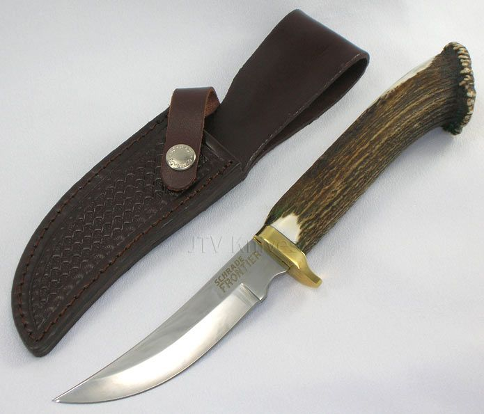 Schrade Knives Frontier Stag Fixed Blade Knife SCST2 ...