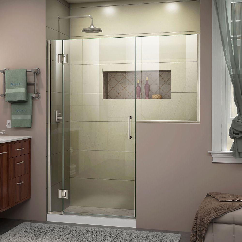 Unidoor X 67 67 1 2 Inch W X 72 Inch H Frameless Hinged Shower Door In Brushed Nickel Fi Black Shower Doors Frameless Hinged Shower Door Shower Doors