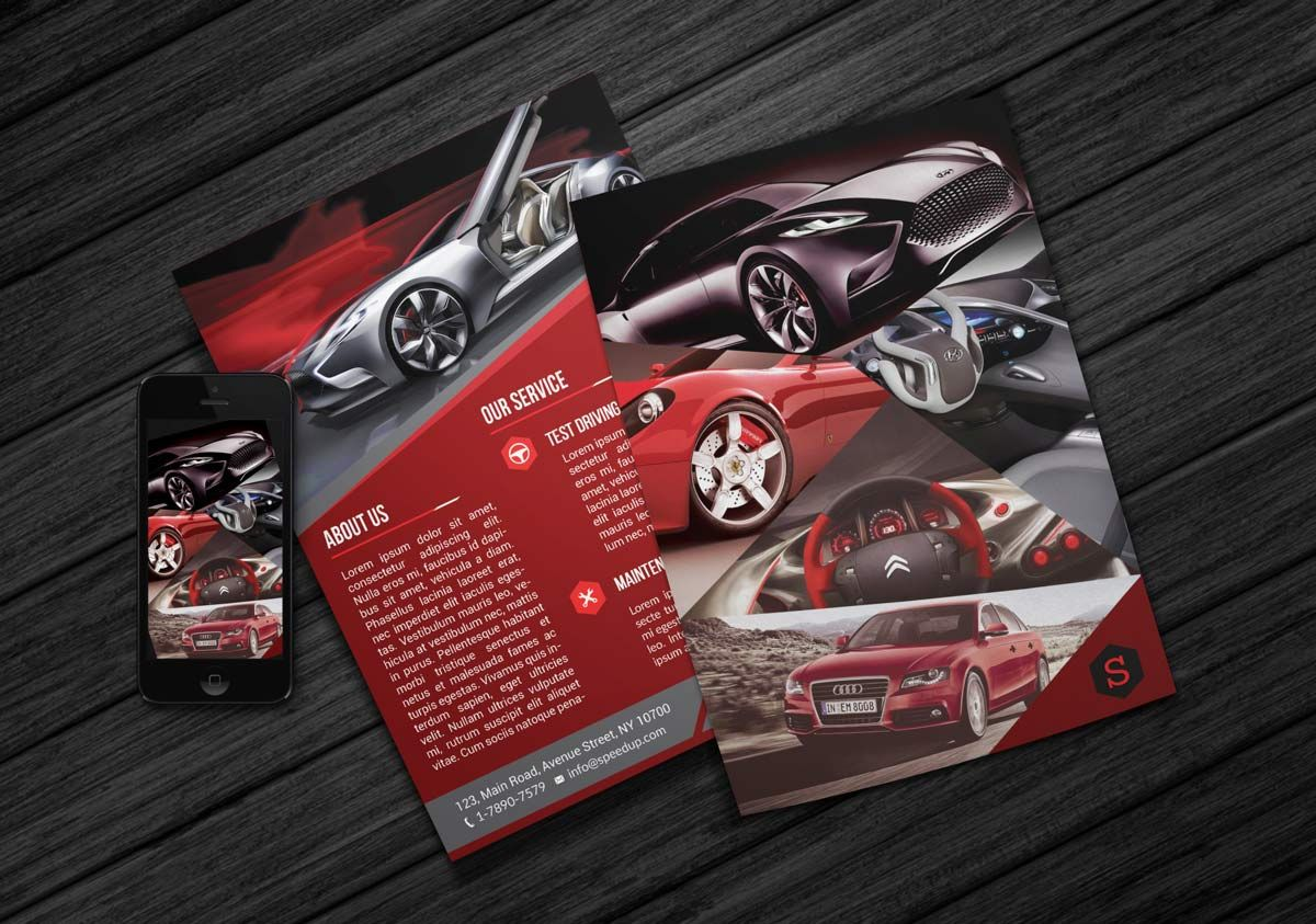 Creative car showroom flyer free PSD template is suitable