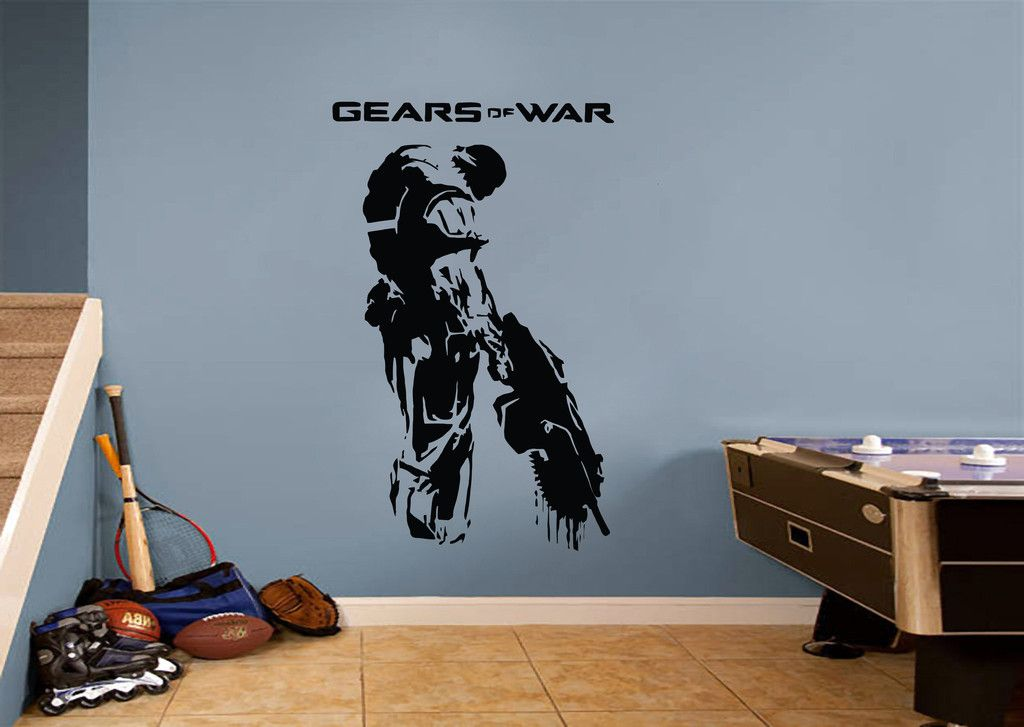 A gears of war soldier gamer wall sticker is a simple way to bring home the action and intensity of the popular video game a vinyl wall quote is an easy