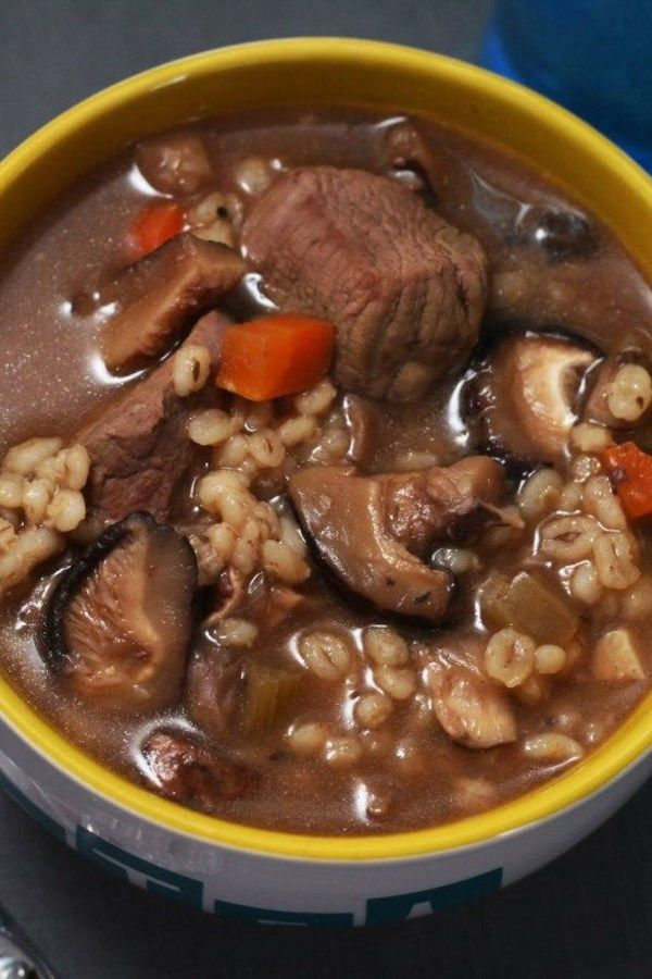 Kelly S Slow Cooker Beef Mushroom And Barley Soup Recipe Slow Cooker Beef Barley Soup Mushroom Barley Soup