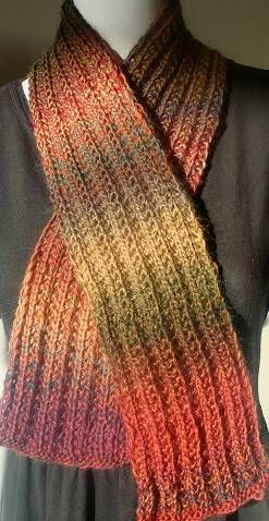 Mini Mochi Tripled Rib Stitch Scarf in doubled yarn. The name may be long, bu...