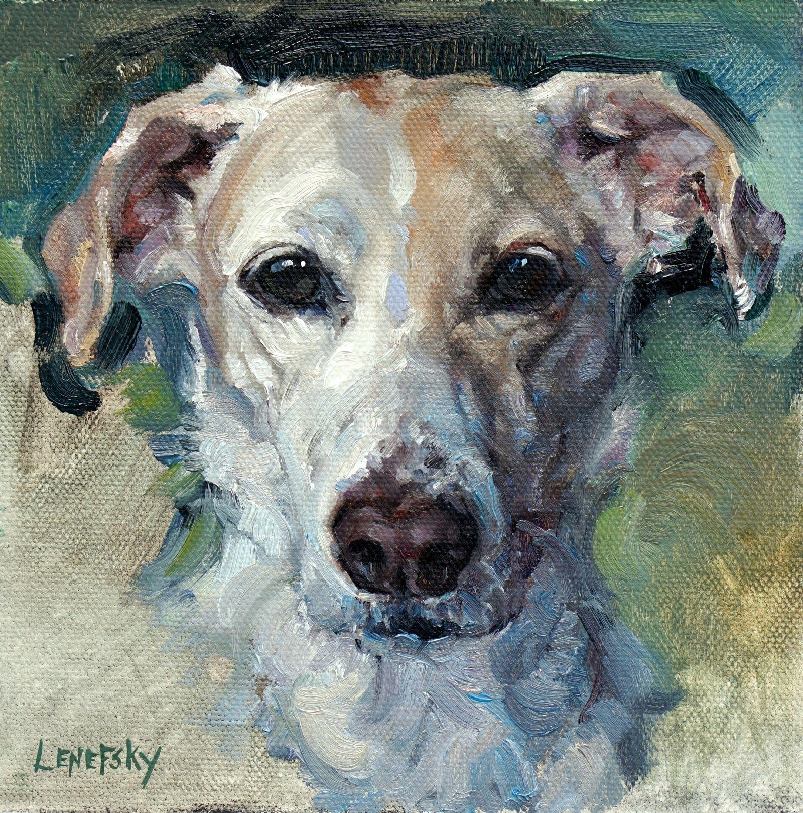 Custom Petrait dog art oil painting on canvas. Alla Prima