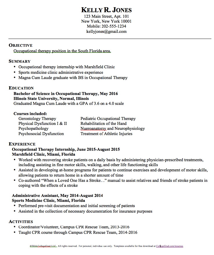 sample resume new graduate occupational therapy