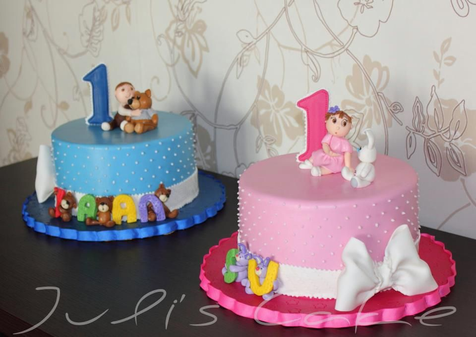 Phenomenal Twins Birthday Cakes Twin Birthday Cakes First Birthday Cakes Funny Birthday Cards Online Unhofree Goldxyz