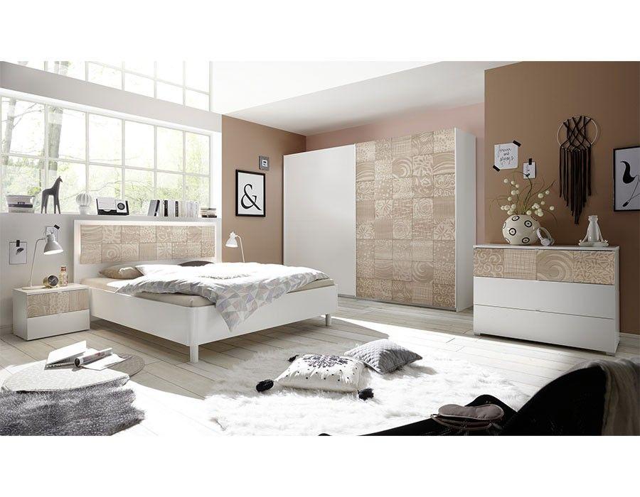 Chambre Moderne Blanc Et Couleur Bois Milena Avec Images