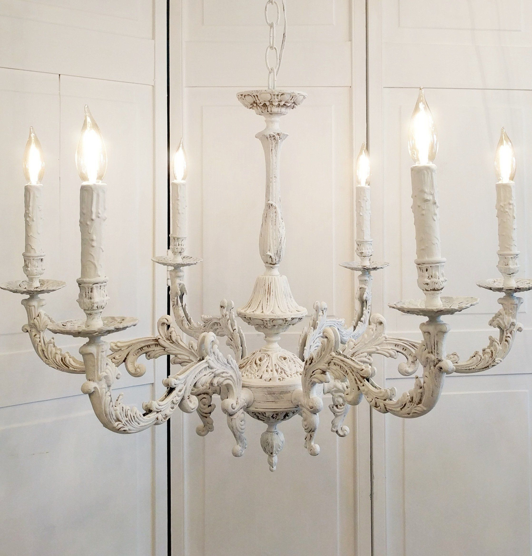 6light Antique Bespoke Chandelier Chic Franchesca French