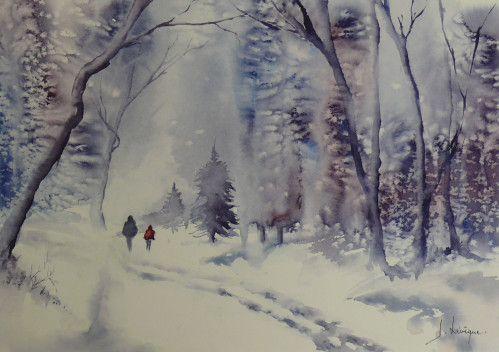 Paysages Aquarelle Comment Peindre L Eau Et Paysage Hivernal