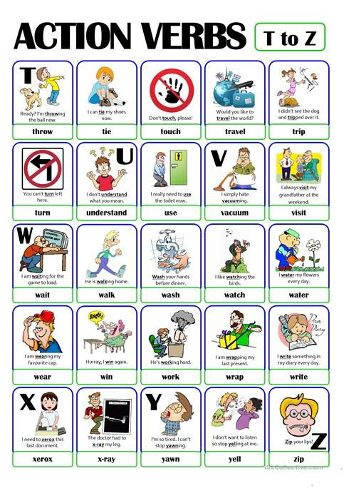 PICTIONARY - ACTION VERB SET (5) - from T to Z | Activities | Pinterest