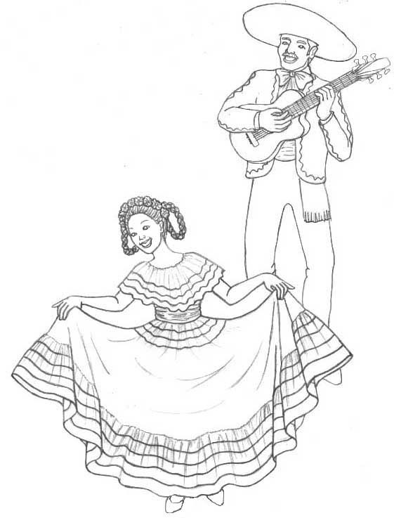 cinco de mayo dancing coloring page - Cinco De Mayo Skull Coloring Pages