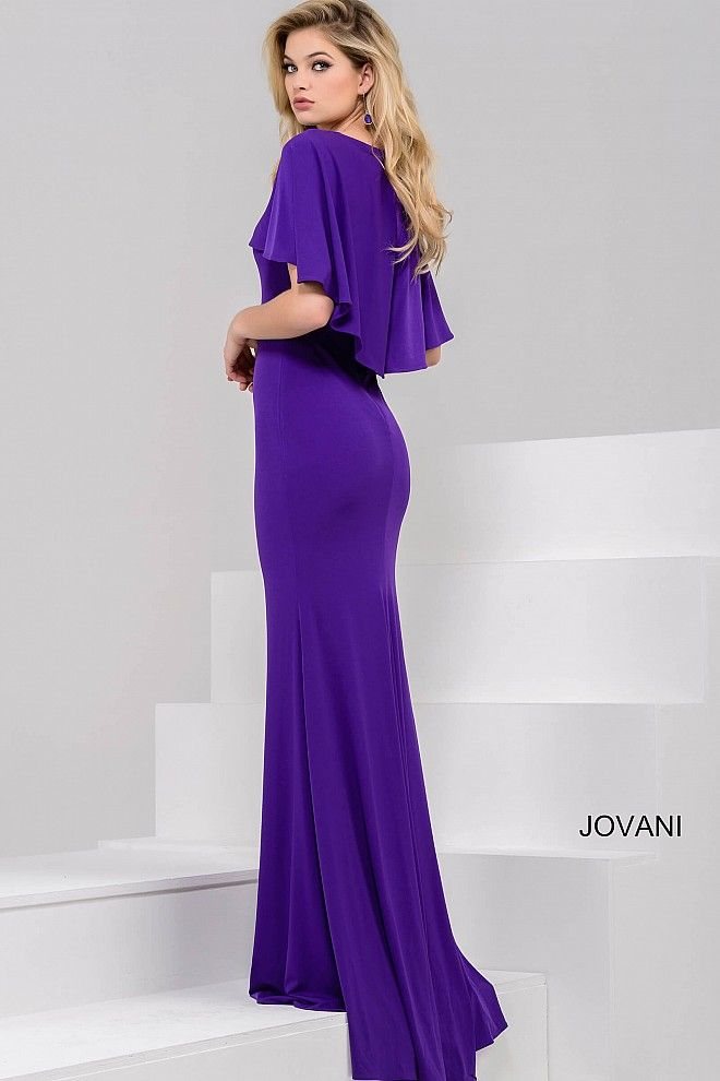 43631f3ad3 Purple Fitted Long Cape Dress 40476