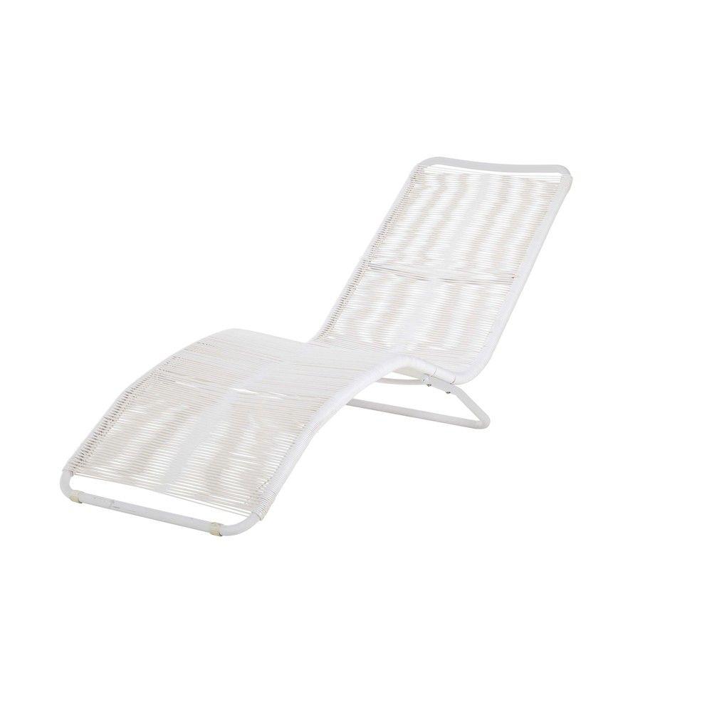 Klappliegestuhl weiss  Sonnenliege aus Metall und Kunstharz-Gewebe in Weiß