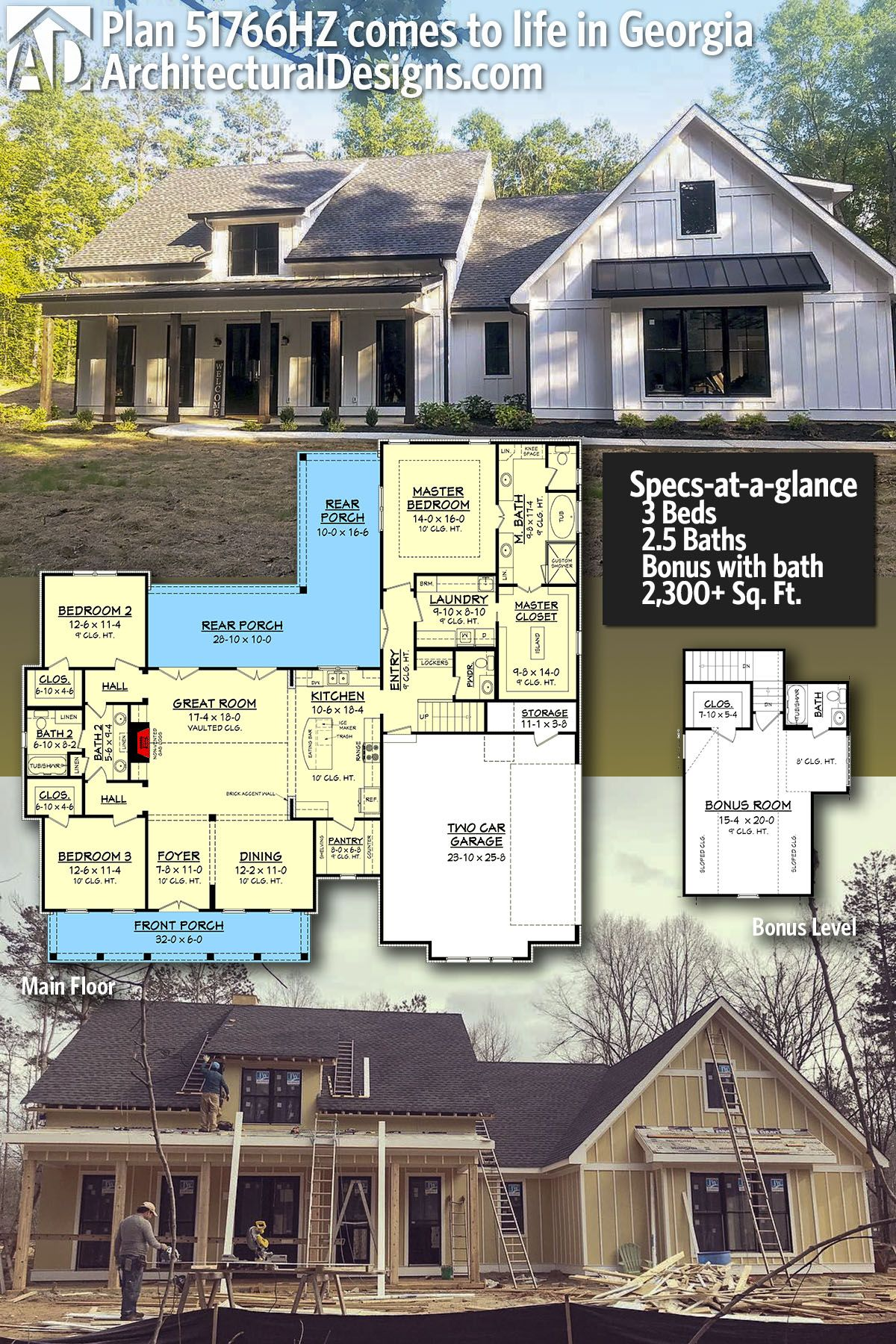 Plan 51766hz Mid Size Exclusive Modern Farmhouse Plan
