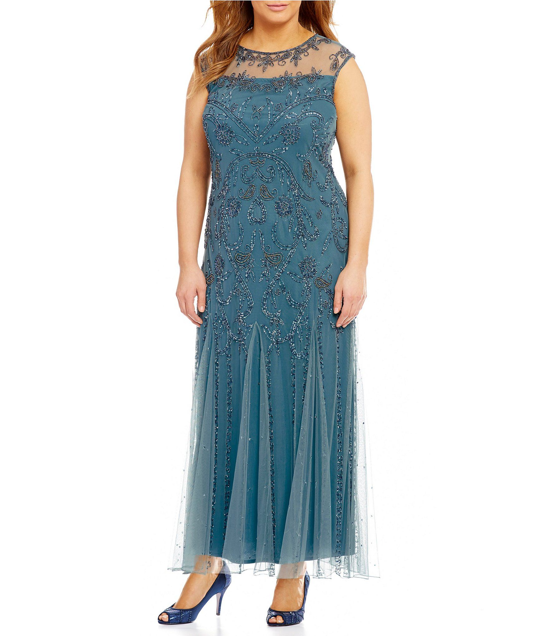 Pisarro Nights Plus CapSleeve Illusion Beaded Gown #Dillards ...