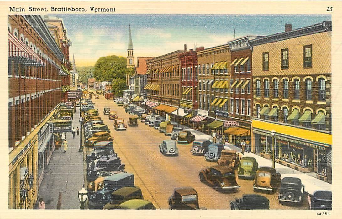 Brattleboro vermont vt birdseye main street ca 1940s cars