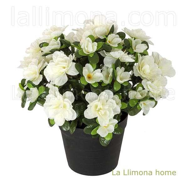 Planta flores azalea artificial blanca con maceta http - Flores de maceta ...