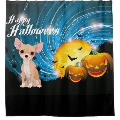 Happy Halloween Chihuahua Shower Curtain Zazzle Com Diy Shower