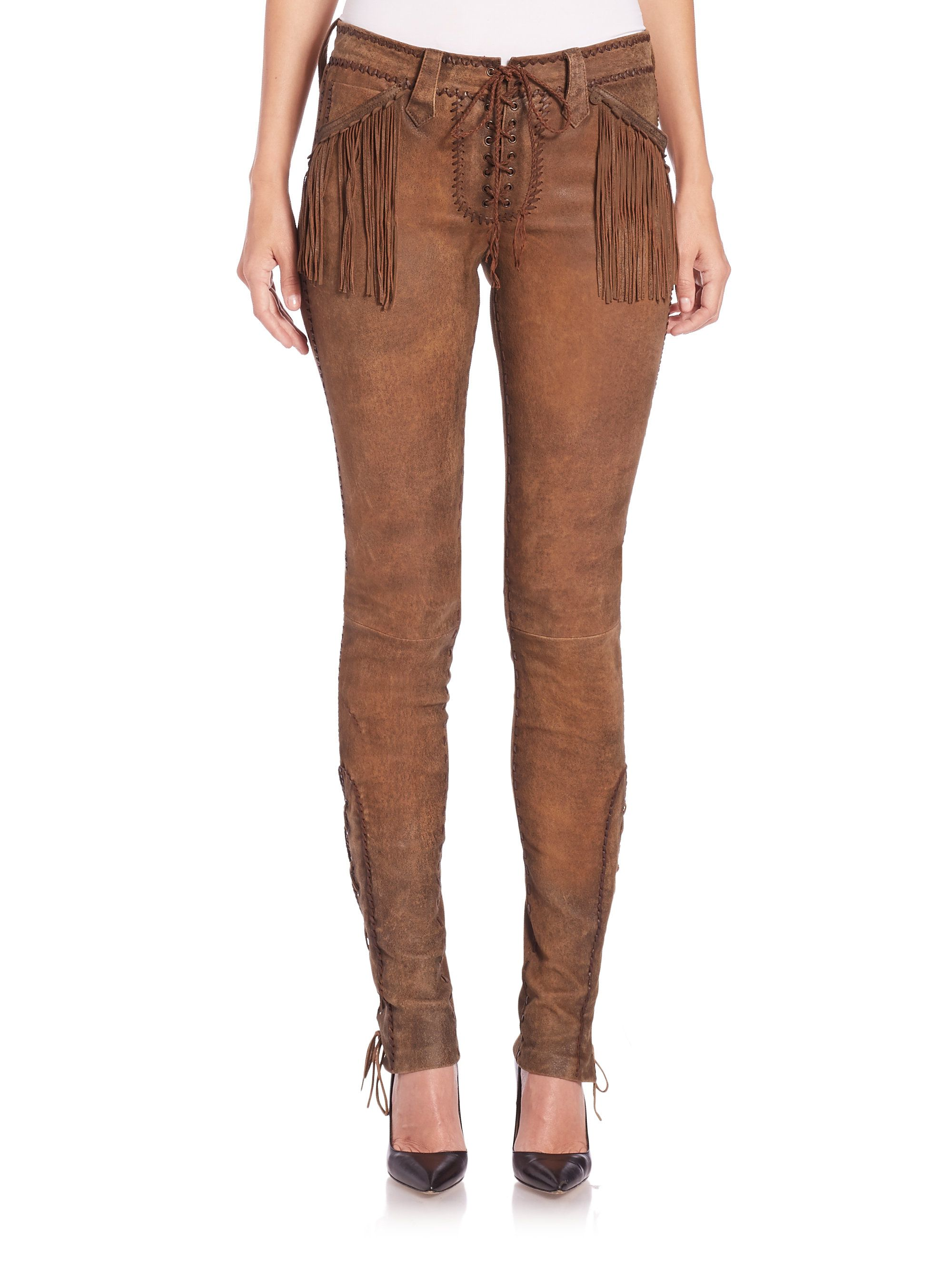 Polo ralph lauren Fringed Stretch Leather Pants in Brown | Lyst
