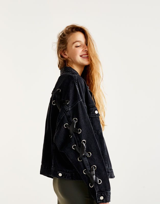 Oversized Denim Jacket With Criss Cross Lace Up Sleeves In 2020 Denim Inspiration Stylish Eve Outfits Clothes