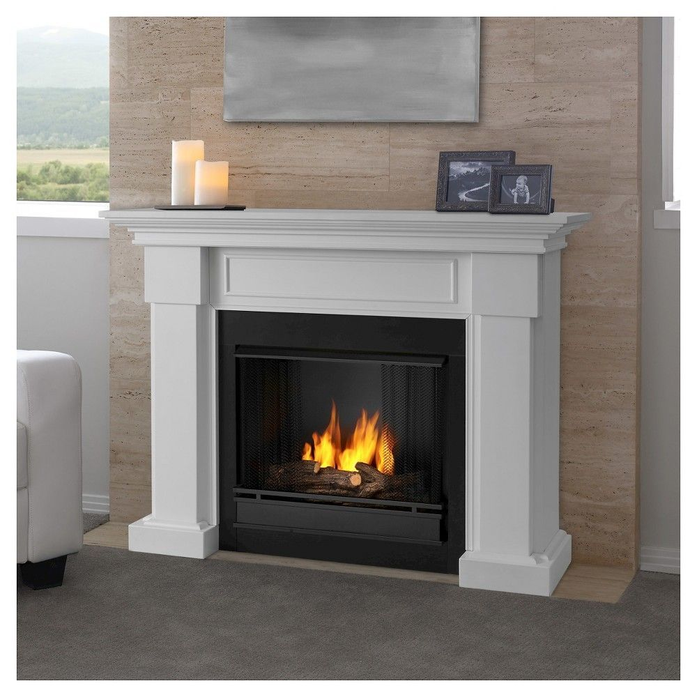 Real Flame Hillcrest Gel Fireplace White White