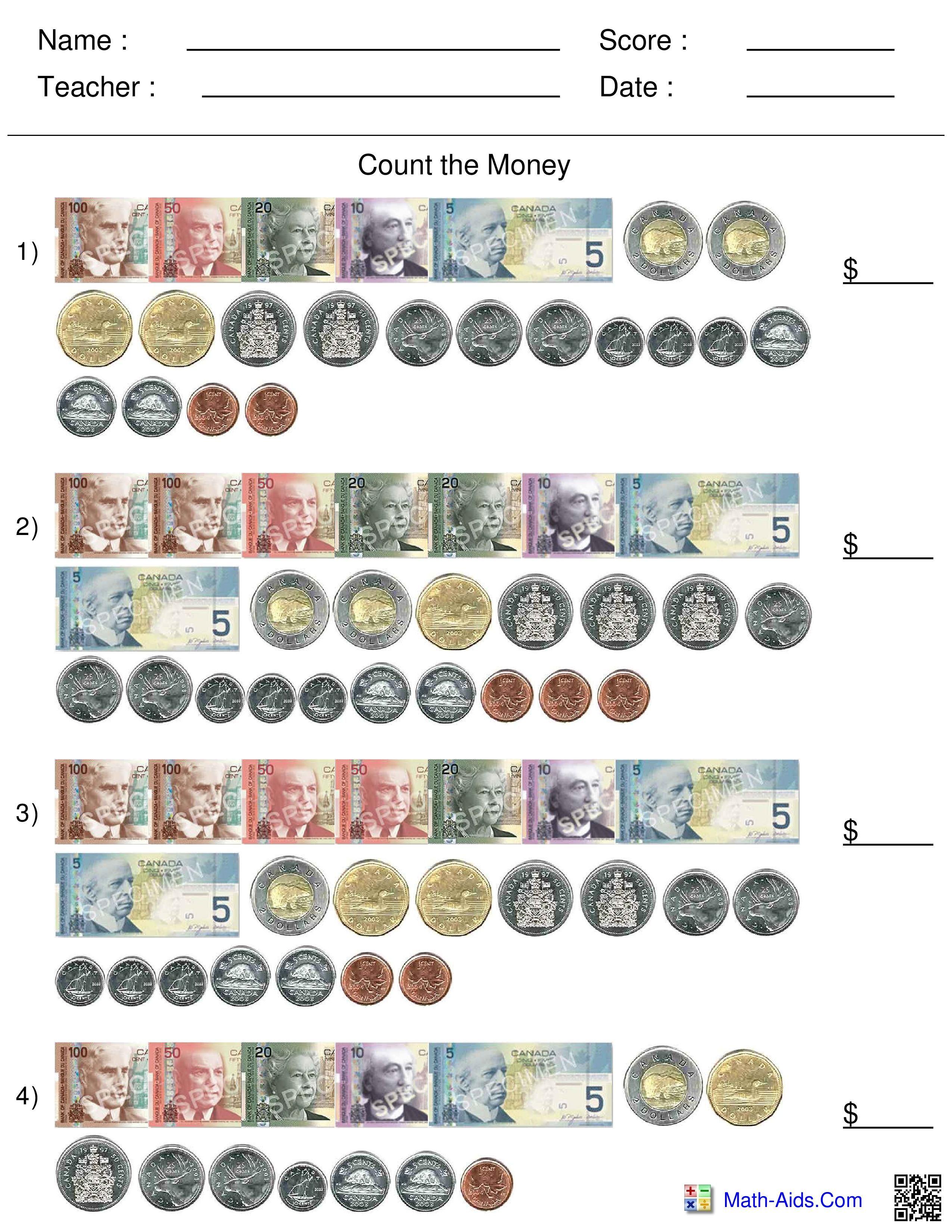 Best 20 Money Worksheets