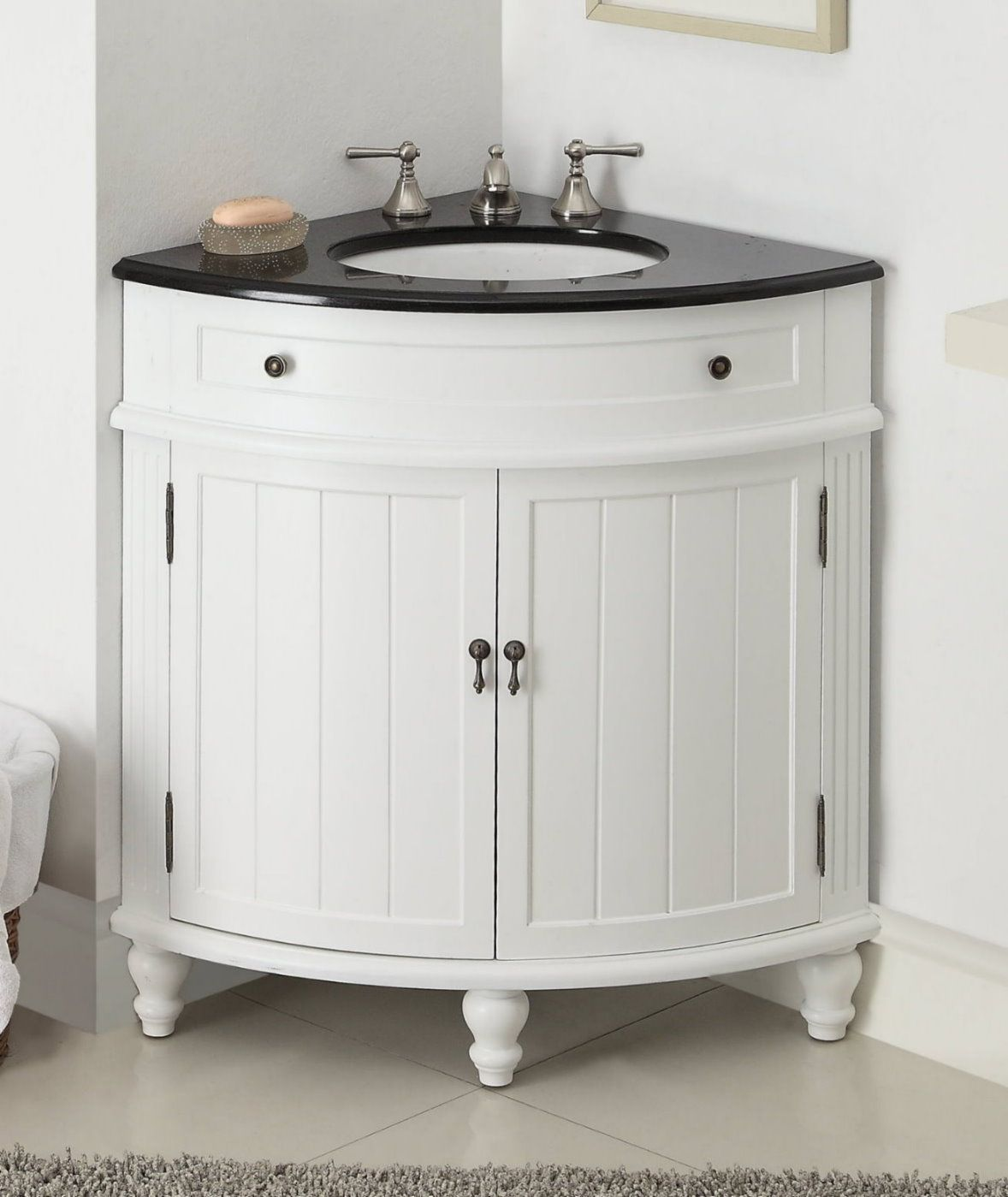 Adelina 24 Inch Corner Antique Bathroom Vanity White Wood Finish
