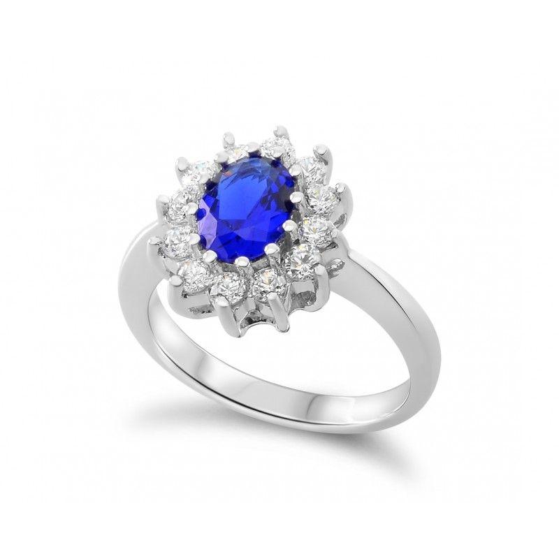 Ein Eleganter Klassischer Ring Aus 925 Sterling Silber In Der Ringmitte Ist Ein Wunderschoner Blauer Stein E Hochzeitsschmuck Ring Verlobung Ringe Mit Gravur
