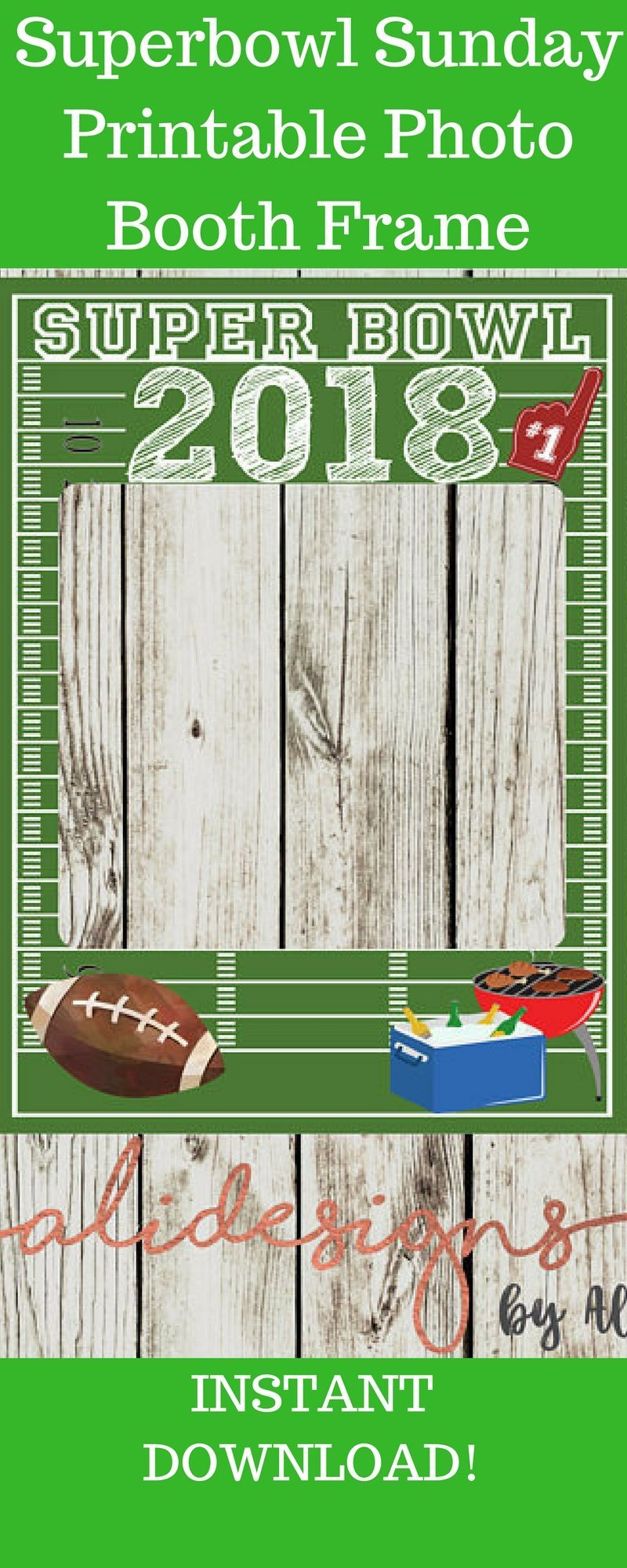 Printable photo booth frame super bowl super bowl party sports party football bb…