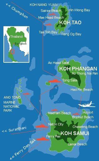 Karte Koh Phangan im Ang-Tong National-Park