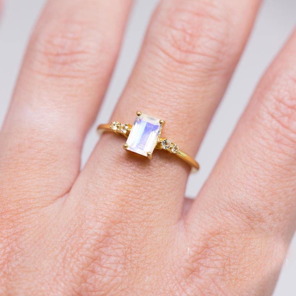 K yellow solid gold emerald cut rainbow moonstone diamond womens