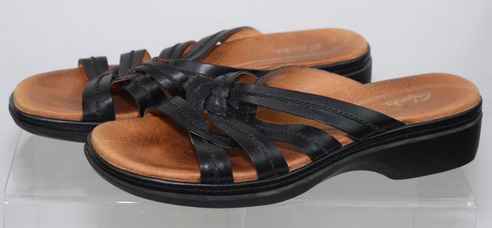 5a40a356c Clarks Leather Sandals Black Womens 9 1 2M Strappy Casual Open Toe  Clarks   Shoes  sandals  leather  Casual