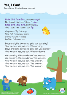 animal songs for preschool lyrics poster for quot yes i can animal song from 95968