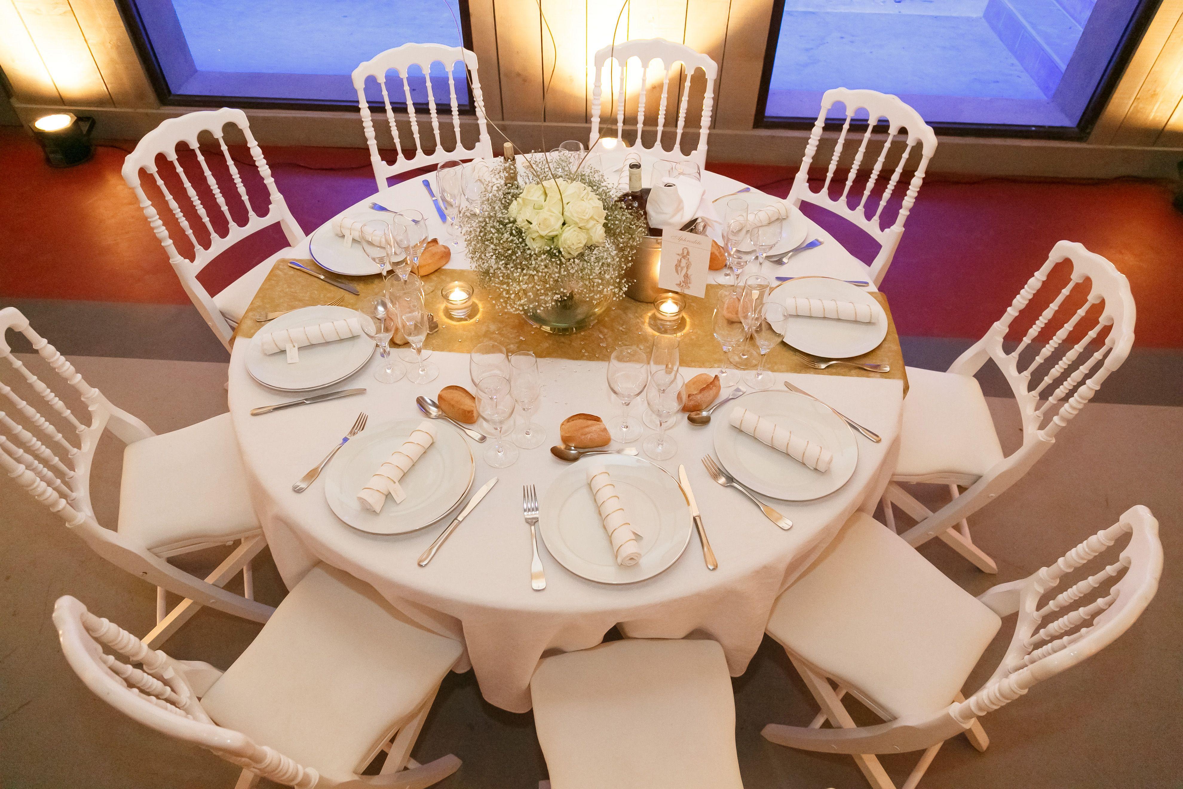 D coration table nom dieux grecs mariage blanc et or - Deco table blanc ...