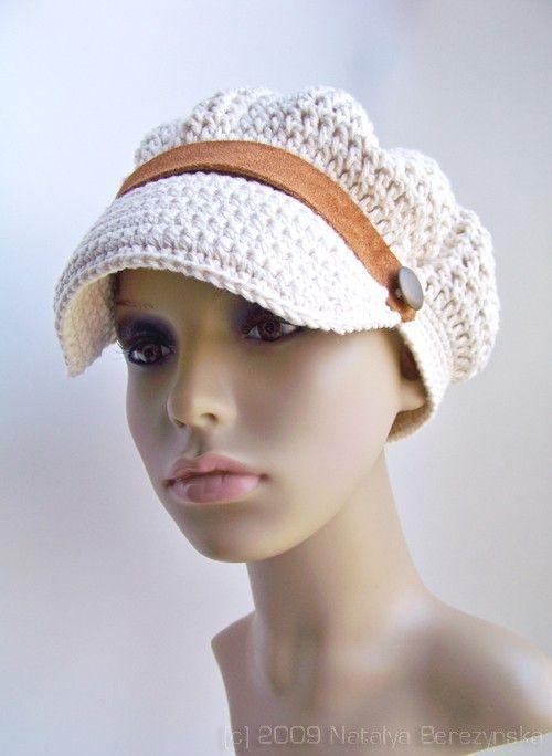 Crochet Newsboy Hat, Summer Sailor Sun Hat, Cotton Cap, White Ecru ...