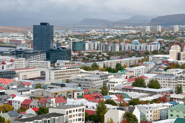 Residential housing and rooftops are seen in this skyline view of Reykjavik, Iceland