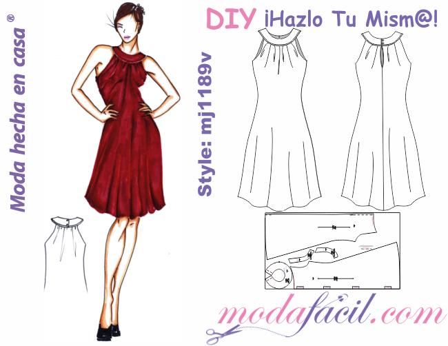 e46ed2f596 molde un precioso vestido de ocasión de cuello tipo collar . teles  sugeridas para este diseño