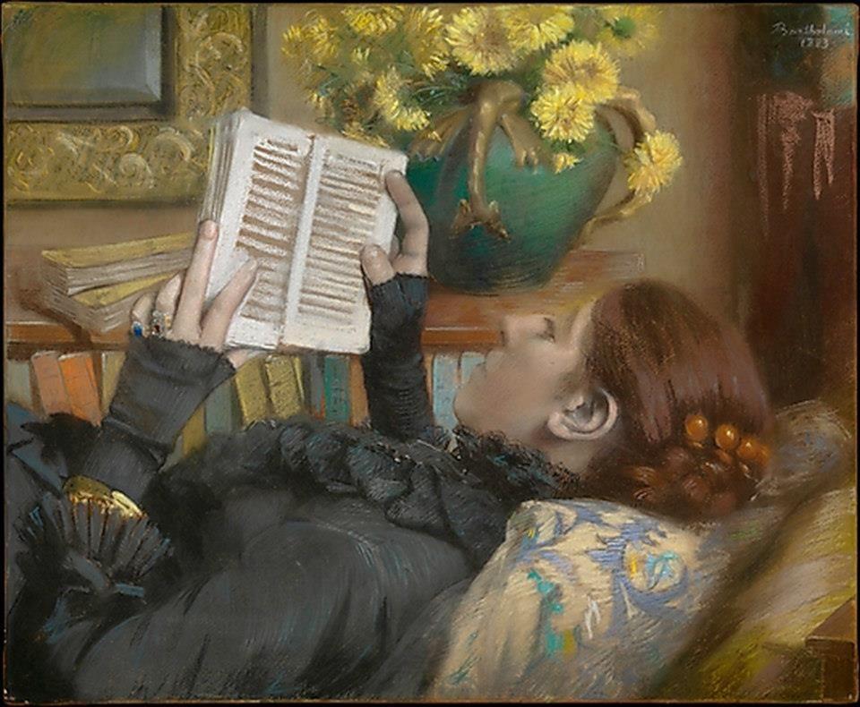 """Paul Albert Barhtolomé (1848-1928)  """"La moglie dell'artista che legge"""""""
