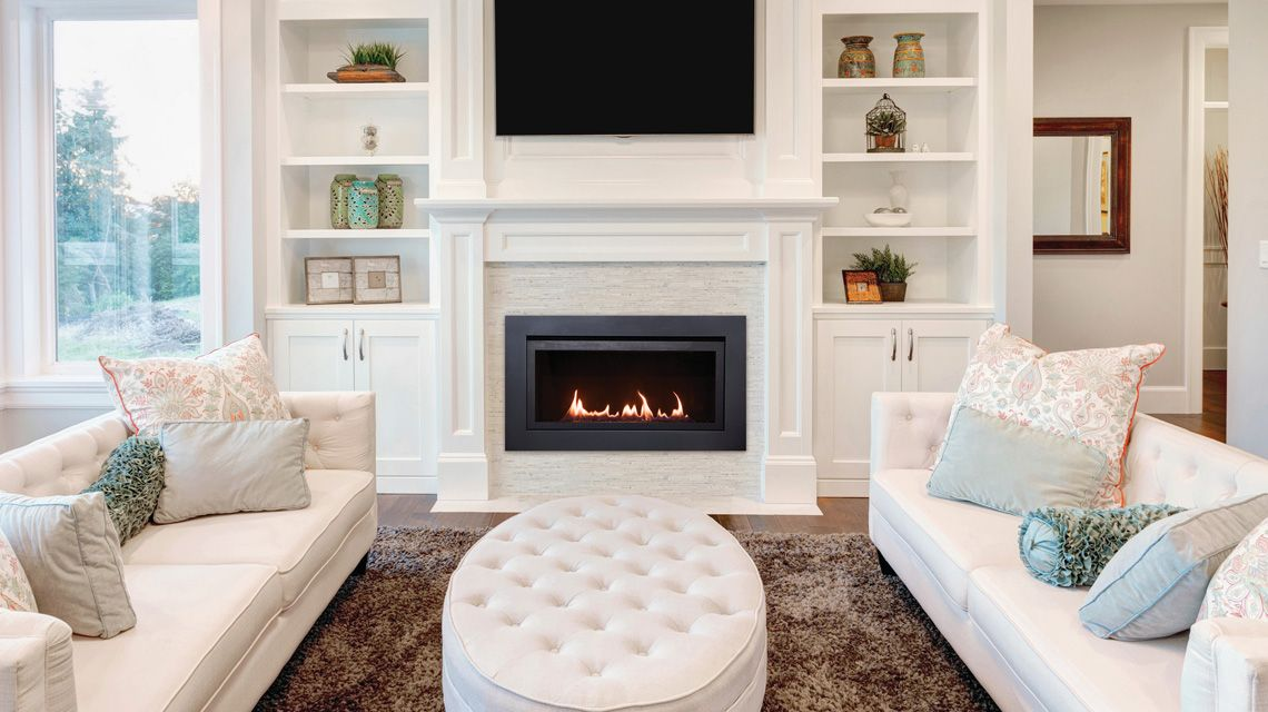 Linear fireplace and Fireplace mantel