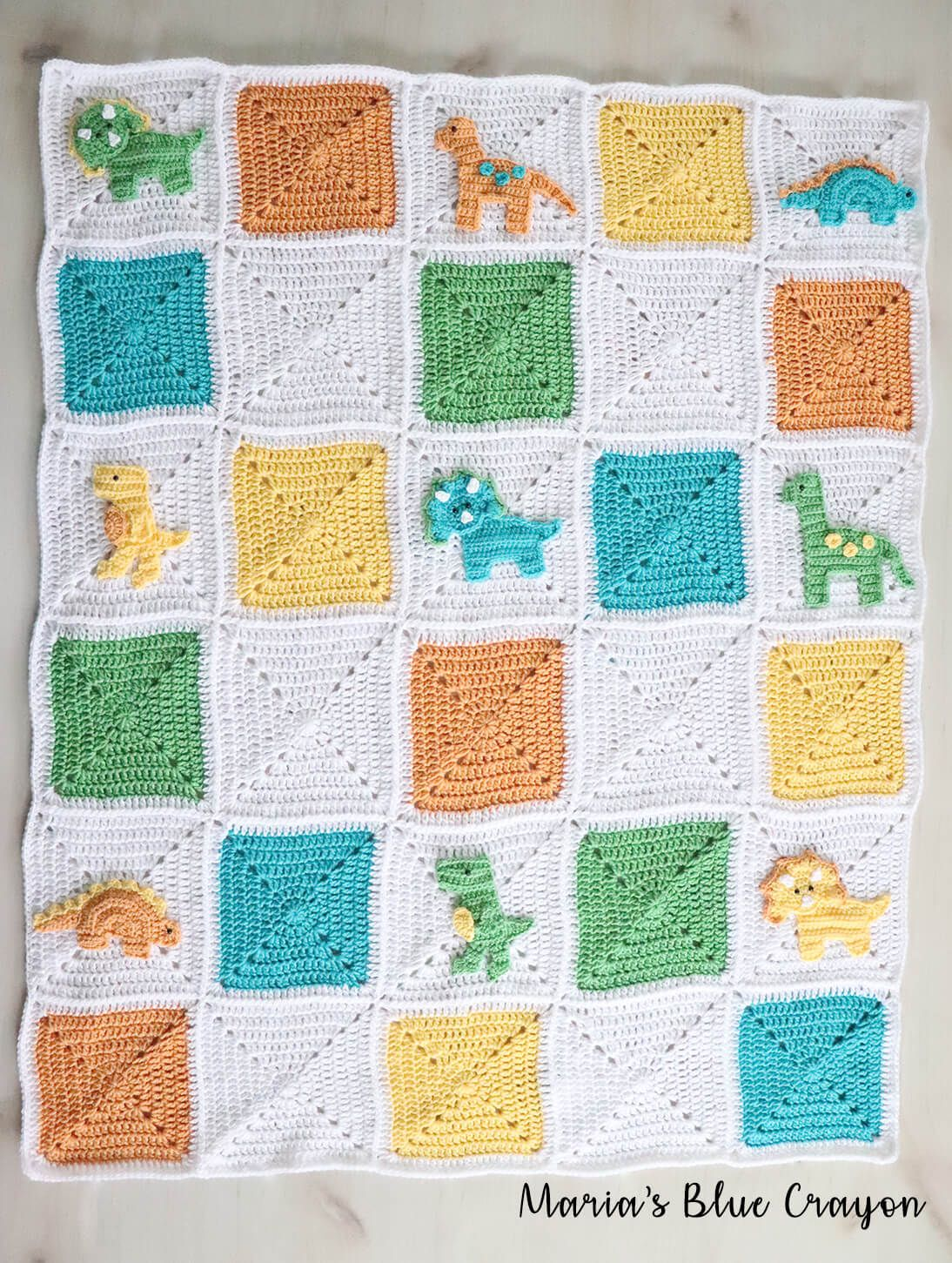 Crochet Dinosaur Granny Square Blanket - Free CAL #crochetdinosaurpatterns