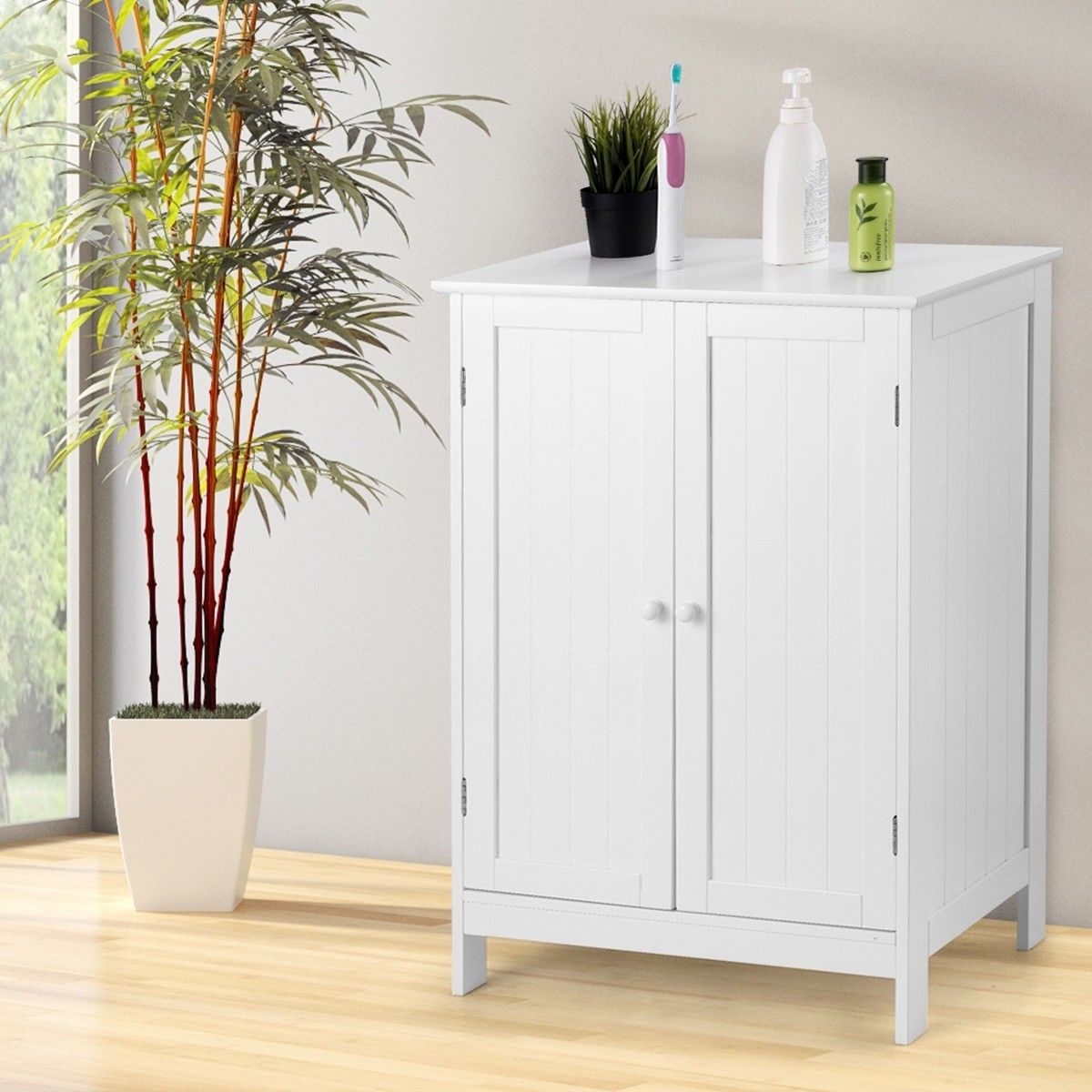 Bathroom Floor Storage Double Door Cupboard Cabinet 78 95 Free Shipping This Bathroom Cabinet Combines Stylish And Functionality To Cre Bathroom Flooring Bathroom Floor Cabinets Storage