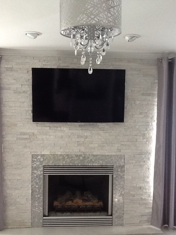 Modern Contemporary White Quartz Ledger Stone Fireplace