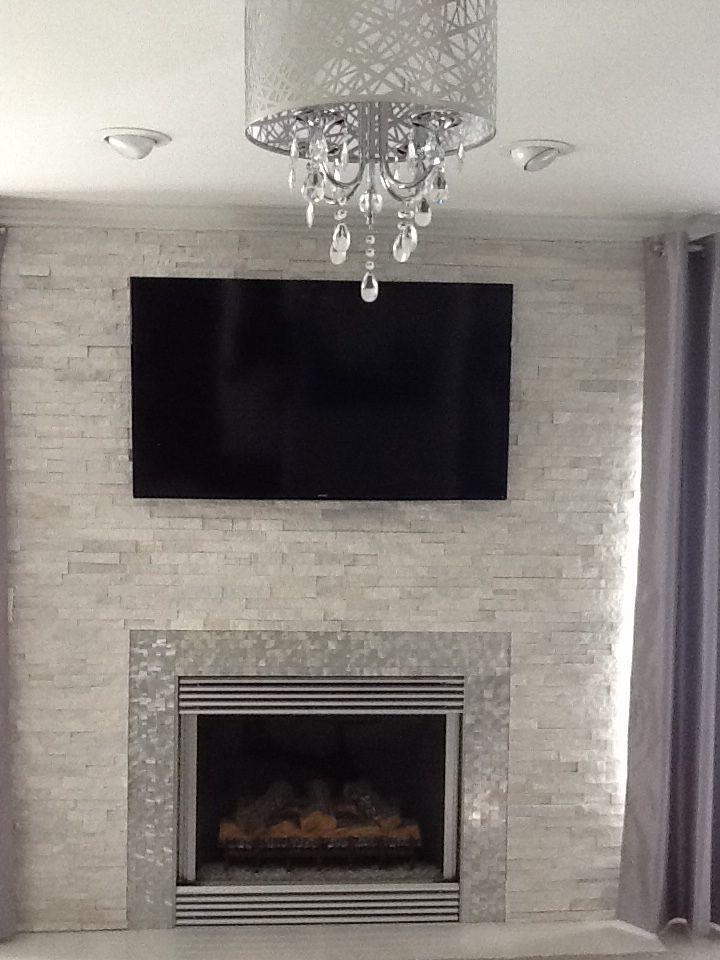 Modern Contemporary White Quartz Ledger Stone Fireplace