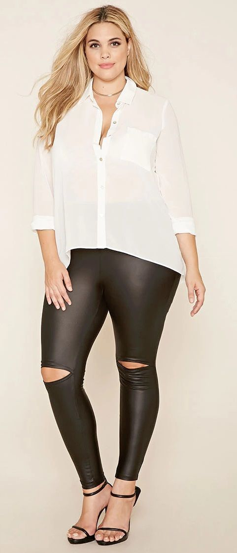 1e9d385a6e2 Plus Size Faux Leather Leggings
