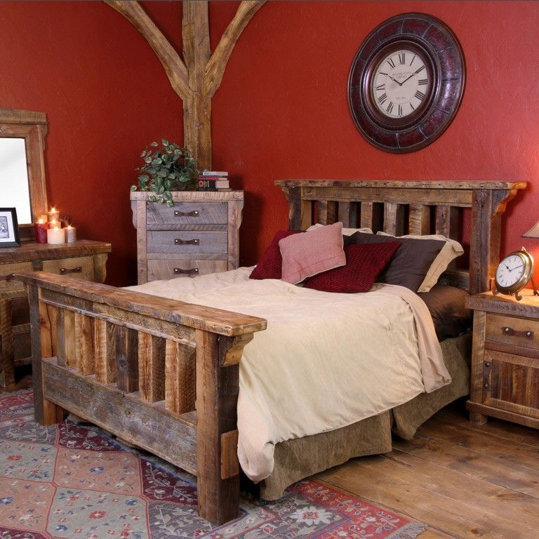 Log cabin decor cabin decor accentuates a comfortable bedroom mountain home decor ideas Mountain home bedroom furniture