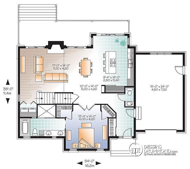 W2957-V2 - Maison de style Moderne Transitionnel, ch des maîtres au - plan maison en u ouvert